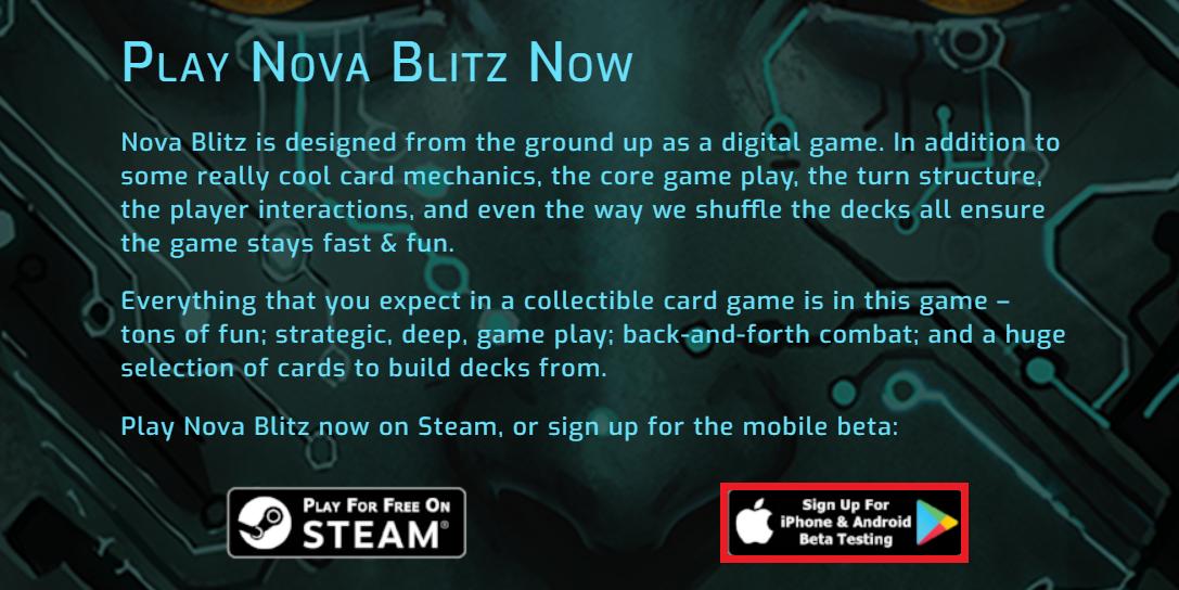 ノヴァブリッツ NovaBlitz アプリ ベータ版 登録 参加