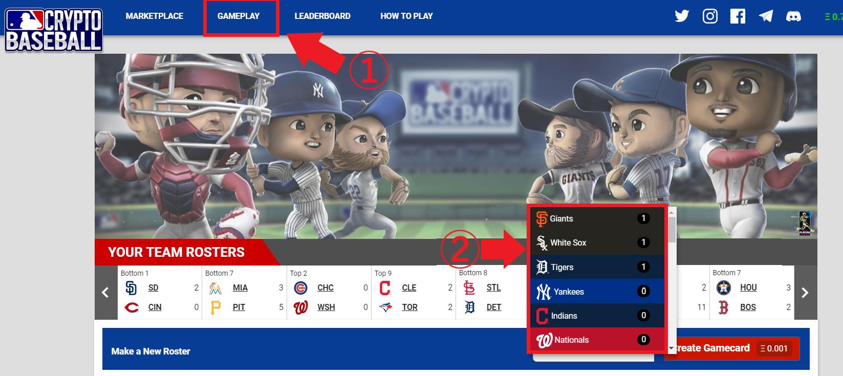 MLB CryptoBaseBall 遊び方 報酬 貰い方 プレイ方法