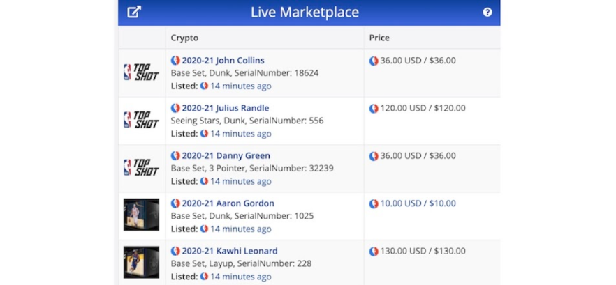 CryptoSlam NFT ツール Live Marketplace