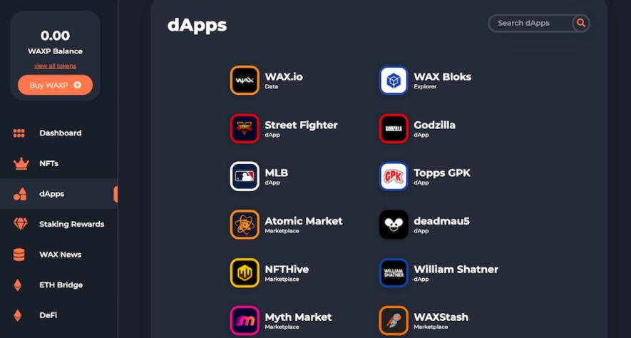 WAX プラットフォーム NFTマーケット 機能 dApps