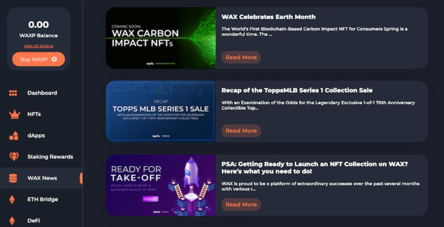 WAX プラットフォーム NFTマーケット 機能 WAX News