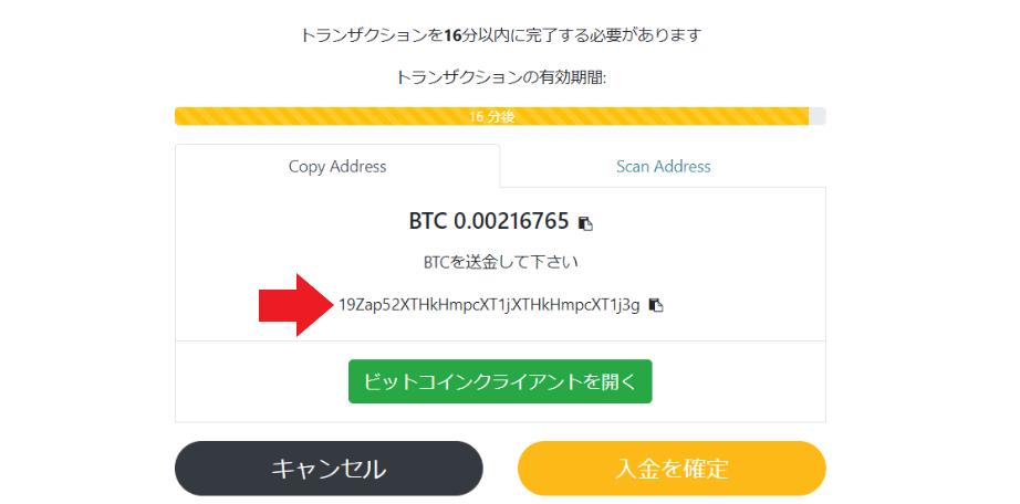 ビットコイン 入金画面